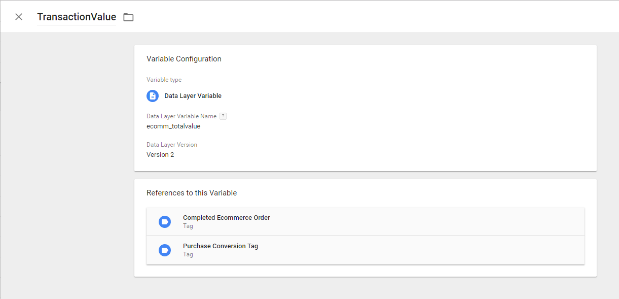 Google Tag Manager Ecommerce Completed Order Transaction Value Variable